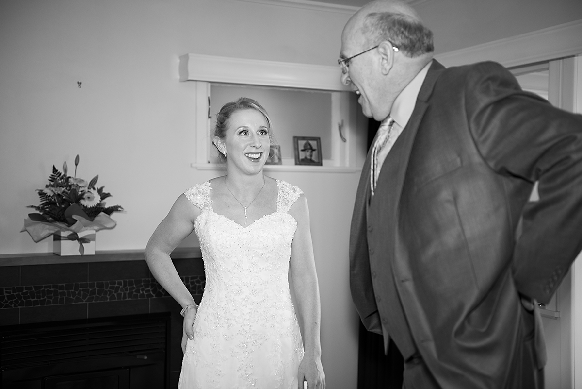 bride and father before wedding ceremony Whangarei NZ