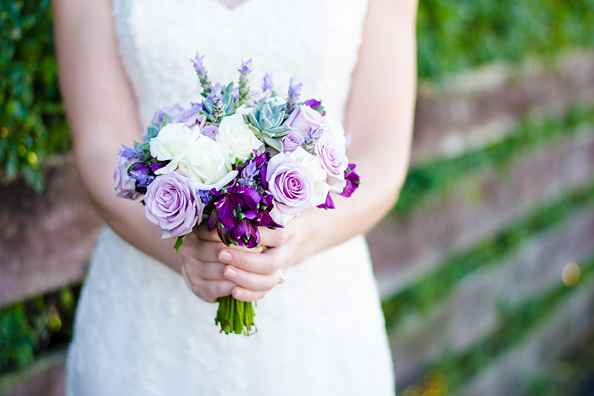 beautiful bride with her wedding bouquet