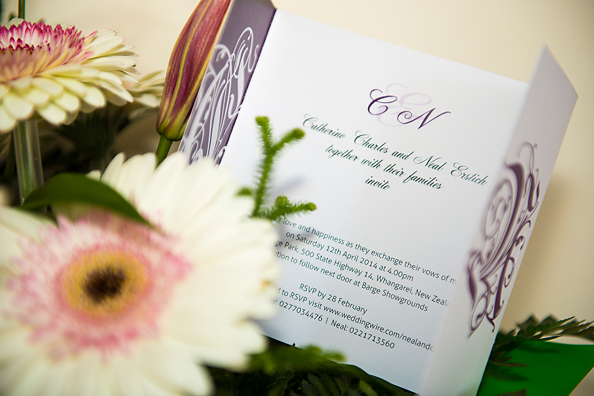 wedding invitations for the wedding of Neal and Cathy Whangarei NZ