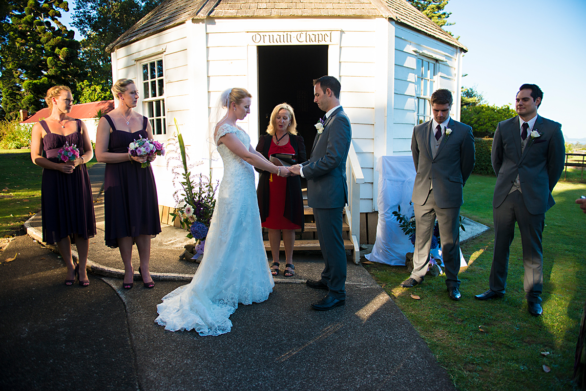 wedding ceremony at the chappell - heritage poark Whangarei NZ