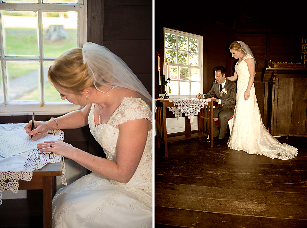 bride and groom signing wedding certificate at the chappel - Heritage park Whangarei