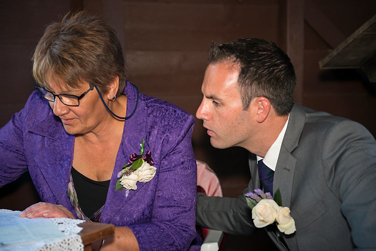 witnesses signing wedding certificate, whagarei NZ